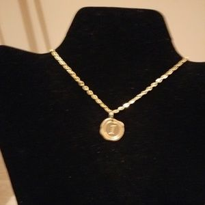 Gold Necklace with Initial I Charm